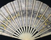 Antique Victorian Bone Hand Fan, Hand Painted (7 of 12)