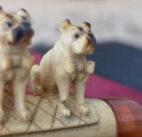 Antique Meerschaum & Amber Cigar Holder, Pug Dogs, Georg Koppa (5 of 11)