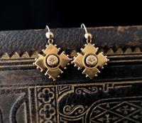 Antique Victorian Diamond Earrings, 9ct Gold (5 of 9)