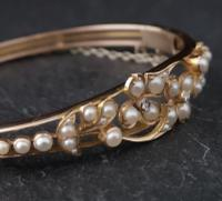 Victorian 18ct Gold Bangle, Pearl & Diamond (14 of 21)