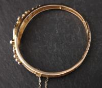 Victorian 18ct Gold Bangle, Pearl & Diamond (11 of 21)