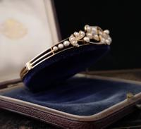 Victorian 18ct Gold Bangle, Pearl & Diamond (3 of 21)