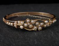Victorian 18ct Gold Bangle, Pearl & Diamond (12 of 21)