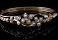Victorian 18ct Gold Bangle, Pearl & Diamond (4 of 21)