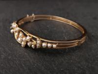Victorian 18ct Gold Bangle, Pearl & Diamond (20 of 21)