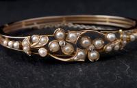 Victorian 18ct Gold Bangle, Pearl & Diamond (15 of 21)