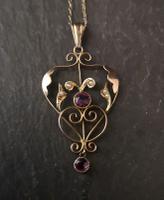 Antique Lavalier Pendant, Art Nouveau, 9ct Gold, Amethyst & Seed Pearl (8 of 11)