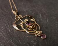 Antique Lavalier Pendant, Art Nouveau, 9ct Gold, Amethyst & Seed Pearl (11 of 11)