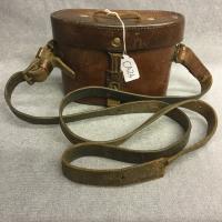 German WW2 Leather Binocular Case with Original Strap to Swivel Clasps. Metal Rim