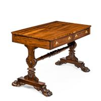 Late Regency Free Standing Gonzalo Alves Writing Table or Library Table