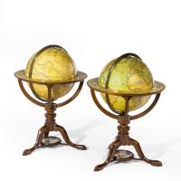 Pair of Carys Library Table Globes English, 1800