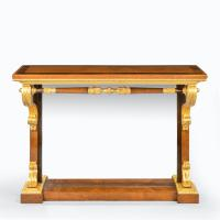 Striking George IV Amboyna, Rosewood & Gilt Console Table attributed to Morel & Seddon