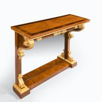Striking George IV Amboyna, Rosewood & Gilt Console Table attributed to Morel & Seddon (3 of 12)