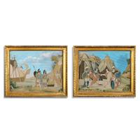 Unusual Pair of Italian Silk Embroidery & Gouache Painted Paper Pictures
