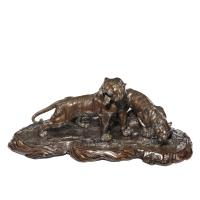 Fine & Large Meiji Period Bronze of Two Tigers by Genryusai Seiya (2 of 8)