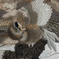 Large Meiji Period Silk Embroidery of a Sea Eagle (7 of 8)