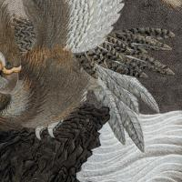 Large Meiji Period Silk Embroidery of a Sea Eagle (4 of 8)