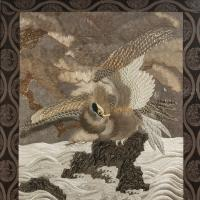 Large Meiji Period Silk Embroidery of a Sea Eagle (2 of 8)