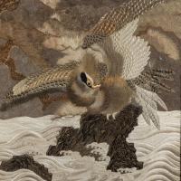 Large Meiji Period Silk Embroidery of a Sea Eagle (3 of 8)