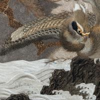 Large Meiji Period Silk Embroidery of a Sea Eagle (6 of 8)