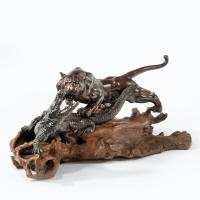 Meiji Period Bronze of a Tiger and An Alligator by Genryusai Seiya (5 of 6)