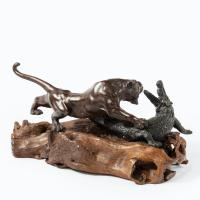 Meiji Period Bronze of a Tiger and An Alligator by Genryusai Seiya (3 of 6)
