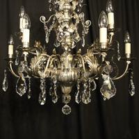 Italian Silver & Crystal Genoa 9 Light Chandelier (9 of 10)