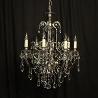 Italian Nickel Plated 8 Light Chandelier c.1930