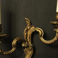 French Gilded Brass Twin Arm Antique Lights (5 of 10)