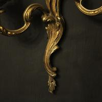 French Gilded Brass Twin Arm Antique Lights (8 of 10)