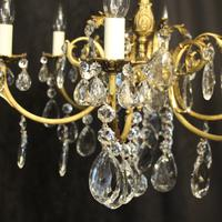 French Bronze & Crystal 6 Light Chandelier (3 of 10)