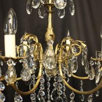 French Bronze & Crystal 6 Light Chandelier (7 of 10)