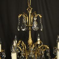 French Bronze & Crystal 6 Light Chandelier (9 of 10)