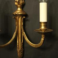 French Gilded Brass Twin Arm Antique Lights (4 of 10)