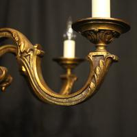 French Gilded Bronze 5 Light Antique Chandelier (3 of 10)