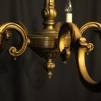 French Gilded Bronze 5 Light Antique Chandelier (5 of 10)