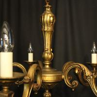 French Gilded Bronze 5 Light Antique Chandelier (6 of 10)