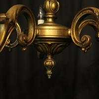 French Gilded Bronze 5 Light Antique Chandelier (8 of 10)