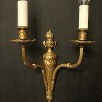 French Twin Arm Gilded Brass Antique Lights (3 of 10)