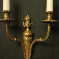 French Twin Arm Gilded Brass Antique Lights (8 of 10)