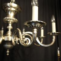 English Silver Plated 8 Light Antique Chandelier (3 of 10)