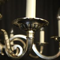 English Silver Plated 8 Light Antique Chandelier (4 of 10)