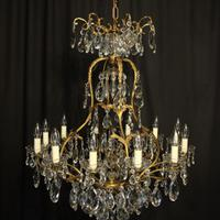 French Gilded Bronze Crystal Antique Chandelier (10 of 10)