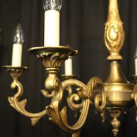 French Gilded Bronze 6 Light Chandelier c.1930 (2 of 10)
