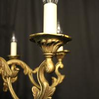French Gilded Bronze 6 Light Chandelier c.1930 (3 of 10)