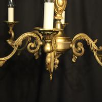 French Gilded Bronze 6 Light Chandelier c.1930 (4 of 10)
