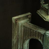 English Pair of Bronze Antique Wall Lanterns (7 of 14)