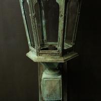 English Pair of Bronze Antique Wall Lanterns (9 of 14)