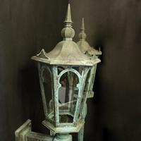 English Pair of Bronze Antique Wall Lanterns (10 of 14)