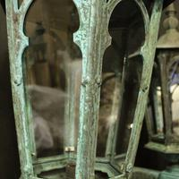 English Pair of Bronze Antique Wall Lanterns (14 of 14)